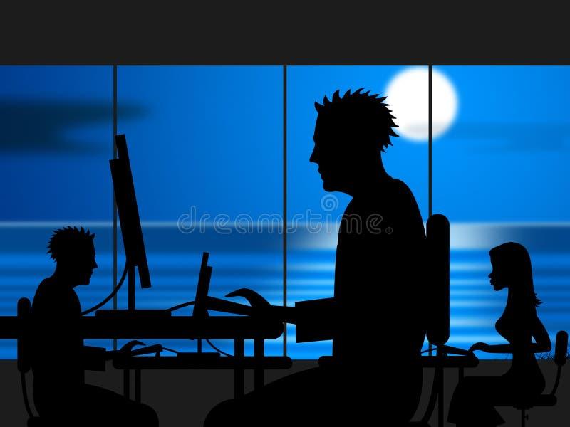 Le travail tard indique le bureau et la nuit de lieu de travail illustration libre de droits