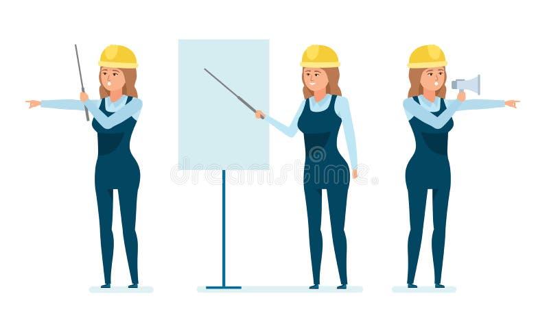 Le travailleur d'architecte enseigne le personnel, explique le matériel, contrôle le personnel, procédé de construction illustration de vecteur