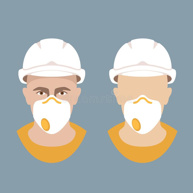 Le travailleur dans un casque de protection et le respirateur dirigent l'appartement illustration libre de droits