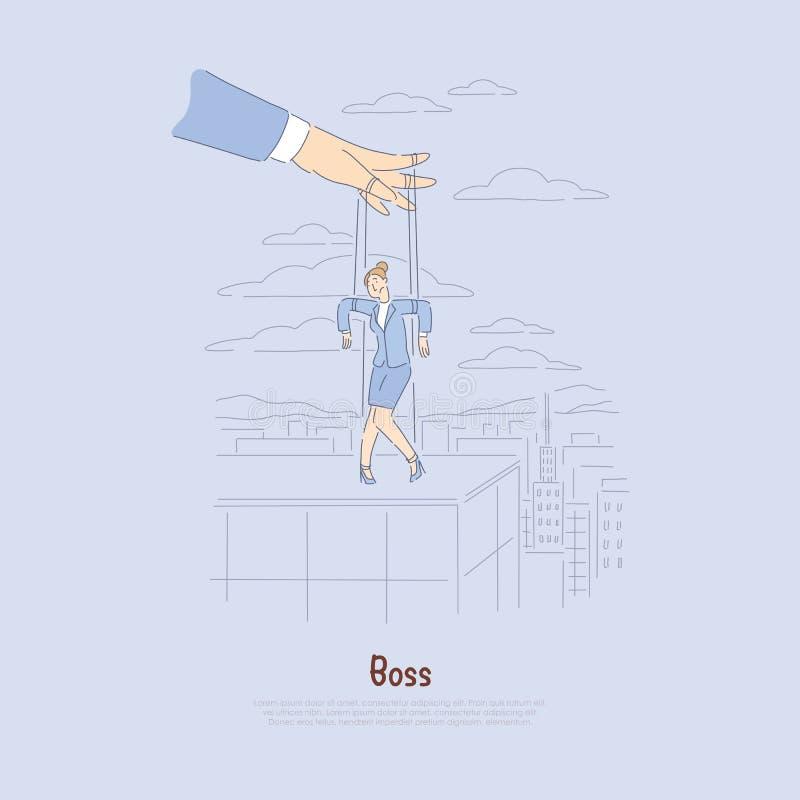 Le travailleur de contrôle d'employeur, a souligné la métaphore des employés, ficelles a attaché la femme, bannière de contrôle d illustration libre de droits