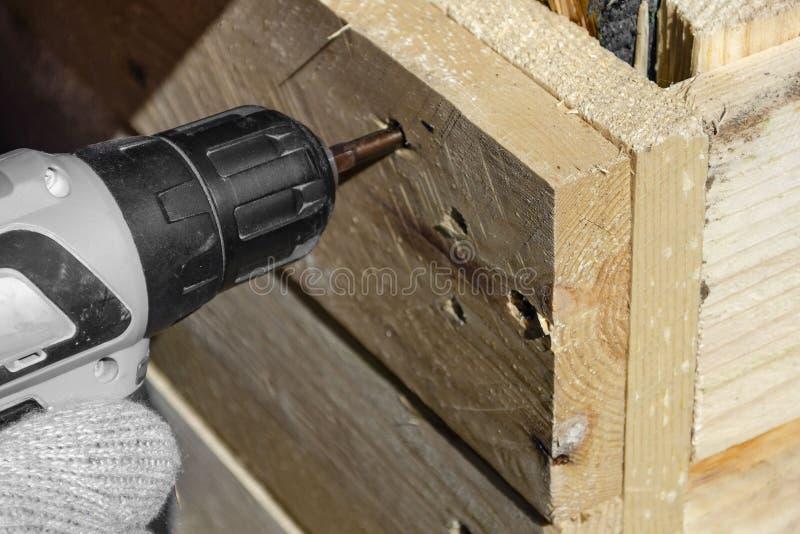 Le travailleur exp?riment? dans un atelier de menuiserie cr?e un produit en bois avec les conseils crus et les relie aux vis photographie stock libre de droits