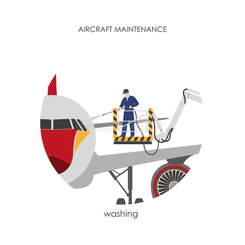 Le travailleur lave l'avion est garé Nettoyage d'avions illustration libre de droits