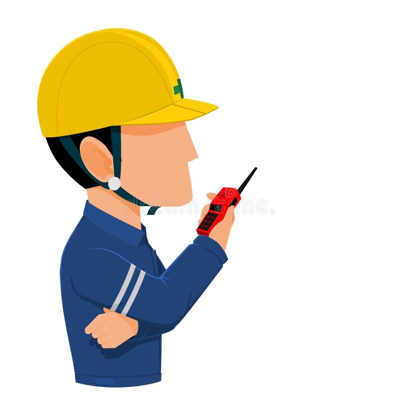Le travailleur parle avec la radio de communication illustration stock