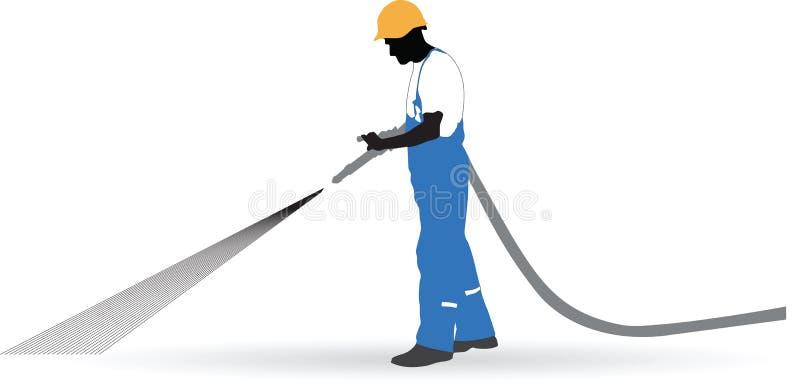 Le travailleur a pulvérisé un tuyau sous pression illustration stock