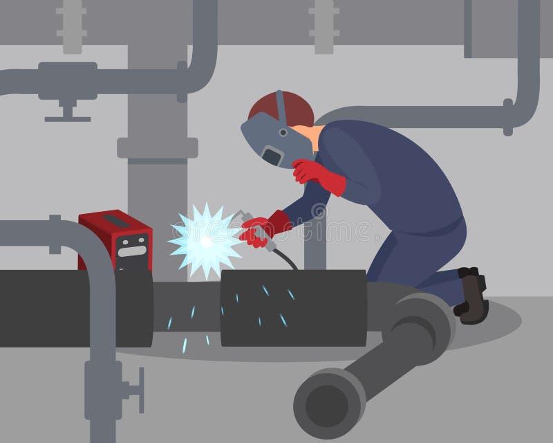 Le travailleur soude de grands tuyaux en métal au sous-sol Soudeuse professionnelle au travail Homme dans le masque protecteur et illustration stock