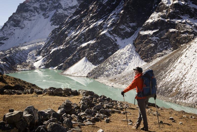 Le Trekker apprécie la vue, regardant le paysage de montagne images libres de droits