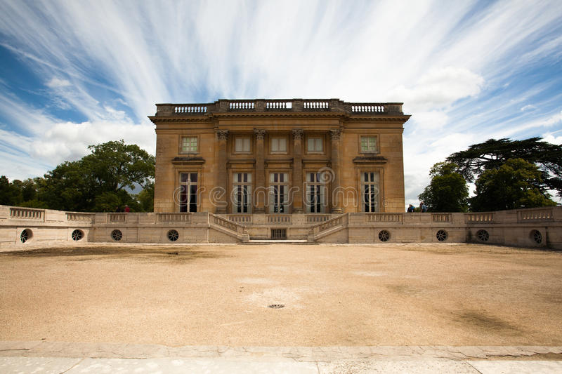 Le Trianon. And gardens in Versailles Chateau France stock image