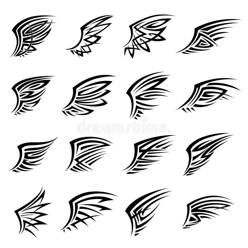 Le tribal noir d'isolement s'envole des icônes ou des tatouages illustration stock