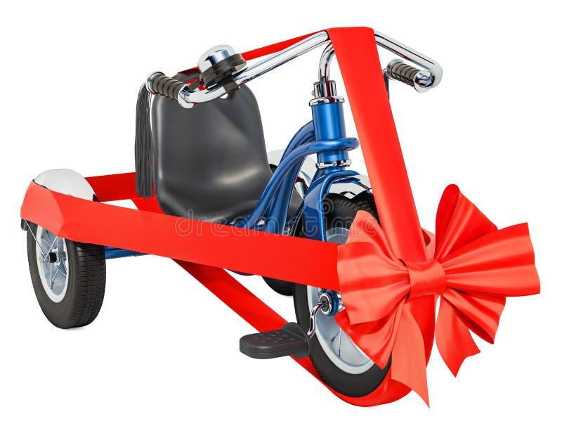 Le tricycle d'enfants avec l'arc et le ruban, concept de cadeau rendu 3d illustration libre de droits
