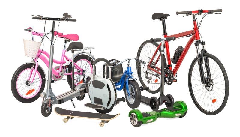 Le tricycle d'enfants, la bicyclette, le vélo adulte, le monocycle électrique, le scooter électrique de coup-de-pied, la planche  illustration libre de droits