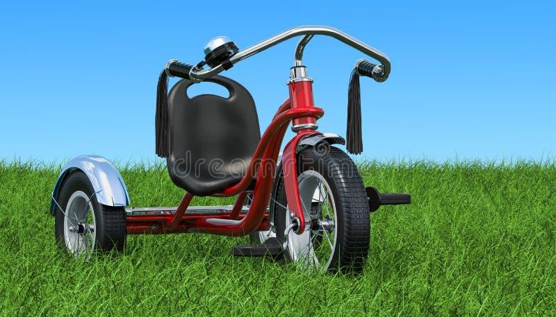 Le tricycle d'enfants sur l'herbe verte contre le ciel bleu, rendu 3D illustration de vecteur
