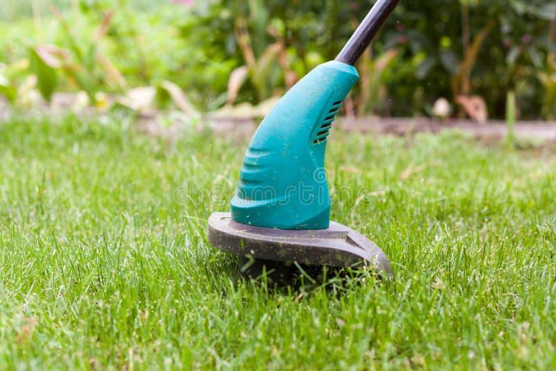 Le trimmer de pelouse d'essence fauche l'herbe verte juteuse sur une pelouse un jour ensoleillé d'été Équipement de jardin images stock