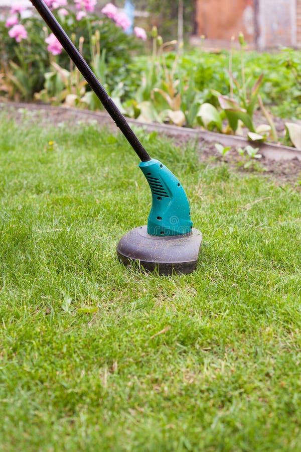 Le trimmer de pelouse d'essence fauche l'herbe verte juteuse sur une pelouse un jour ensoleillé d'été Équipement de jardin image stock