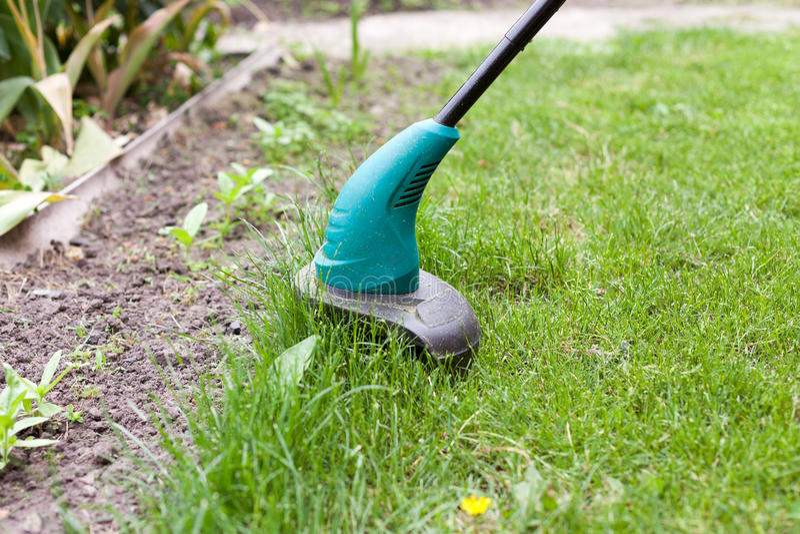 Le trimmer de pelouse d'essence fauche l'herbe verte juteuse sur une pelouse un jour ensoleillé d'été Équipement de jardin photos libres de droits