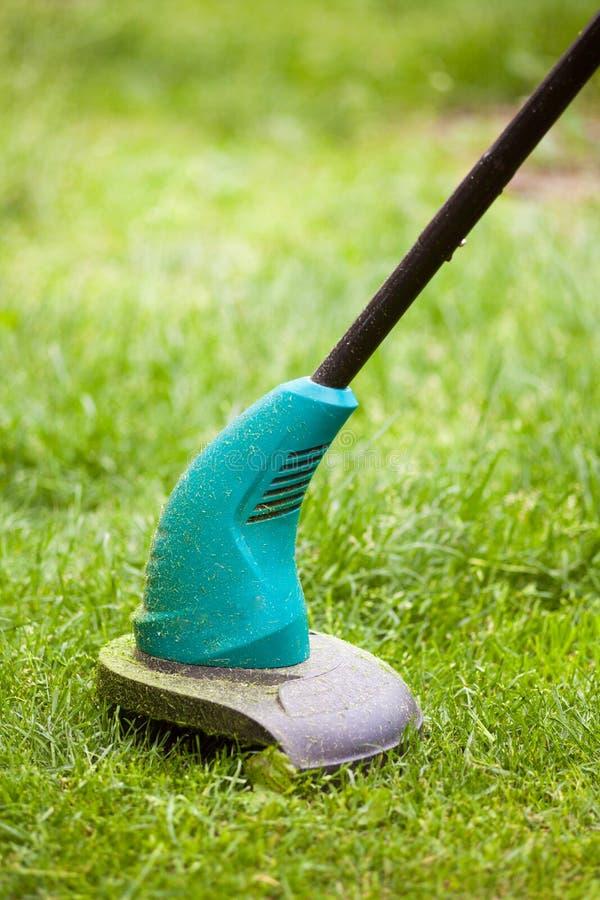 Le trimmer de pelouse d'essence fauche l'herbe verte juteuse sur une pelouse un jour ensoleillé d'été Équipement de jardin images libres de droits