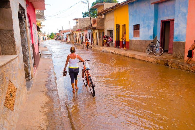 LE TRINIDAD, CUBA - 8 SEPTEMBRE 2015 : Inondé photo libre de droits