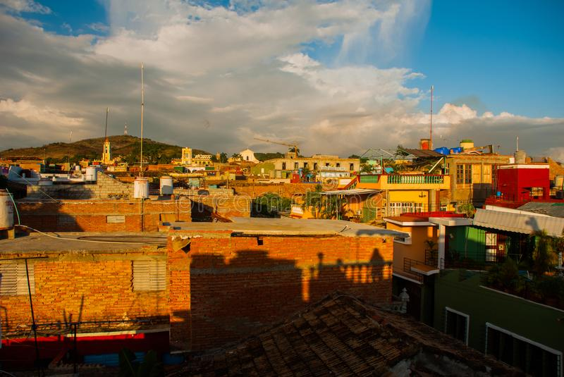 Le Trinidad, Cuba Vue supérieure de la ville cubaine Panorama de la ville de touristes et populaire au Cuba photographie stock