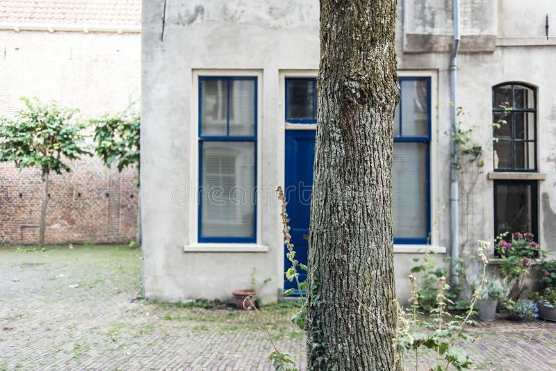Le tronc d'arbre devant le vieux blanc a coloré la maison en réalisateur néerlandais de ville photos stock