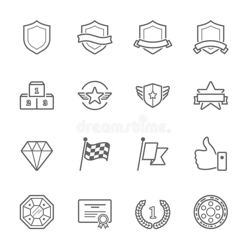 Le trophée attribue l'ensemble d'icône de course d'ensemble de vecteur illustration de vecteur
