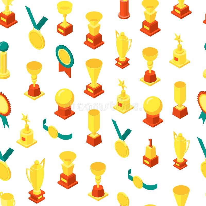Le trophée met en forme de tasse la vue isométrique de fond sans couture de modèle de récompenses Vecteur illustration stock