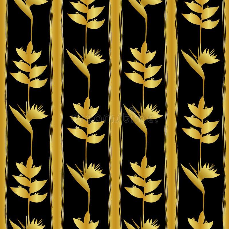 Le tropique d'or fleurit le modèle sans couture illustration de vecteur