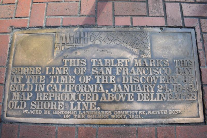 Le trottoir a enfoncé la carte montrant le rivage original de vieux San Francisco images stock
