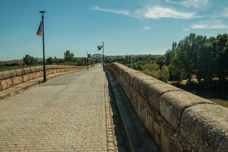 Le trottoir a fait des pavés sur le pont romain international Mérida images libres de droits