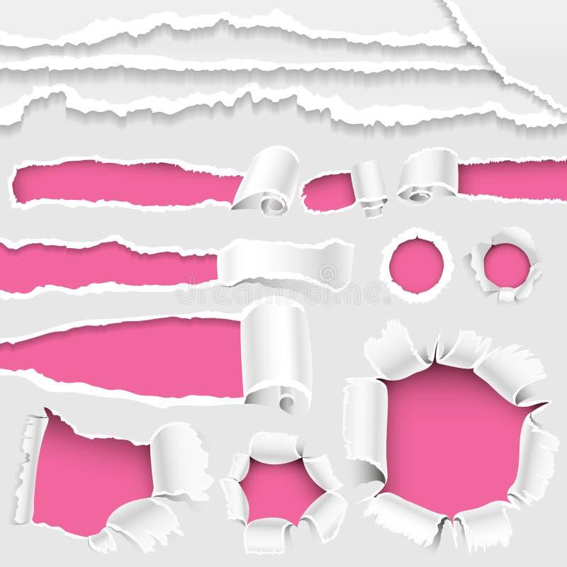 Le trou déchiré de bords a lacéré la collection réaliste en lambeaux d'illustration de vecteur du style 3d de bord de papier et d illustration stock