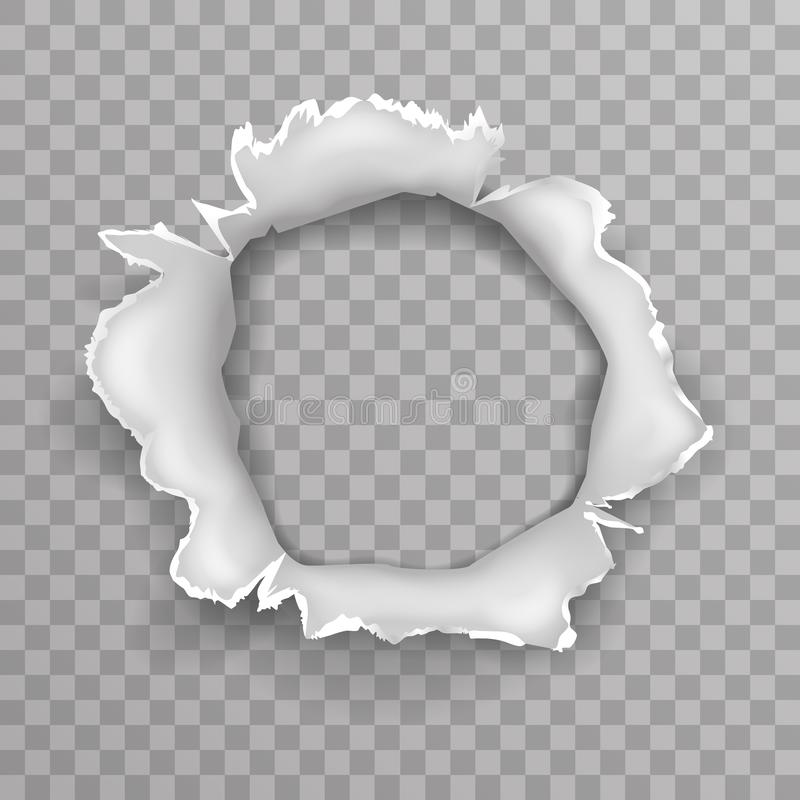 Le trou d'explosion de projectile de balle de coup de Shellhole a déchiré l'illustration transparente déchirée de vecteur de fond illustration de vecteur
