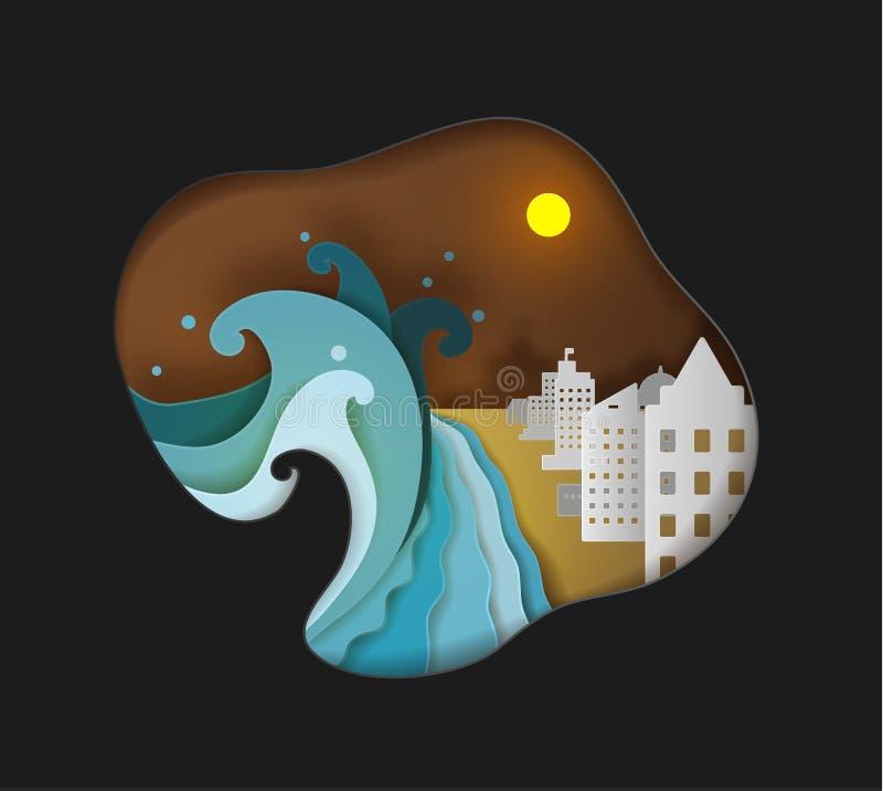 Le tsunami attaque la ville de bord de la mer vecteur de papier mignon d'art illustration de vecteur