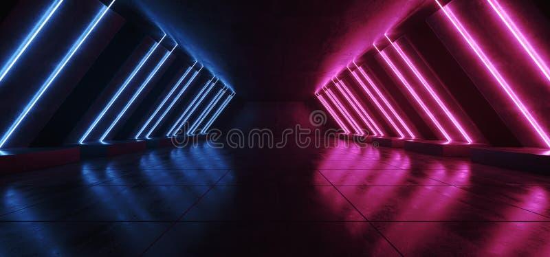 Le tube bleu vibrant rougeoyant au n?on fluorescent de laser de Sci fi a form? moderne ?l?gant de lumi?res dans le couloir carrel illustration stock