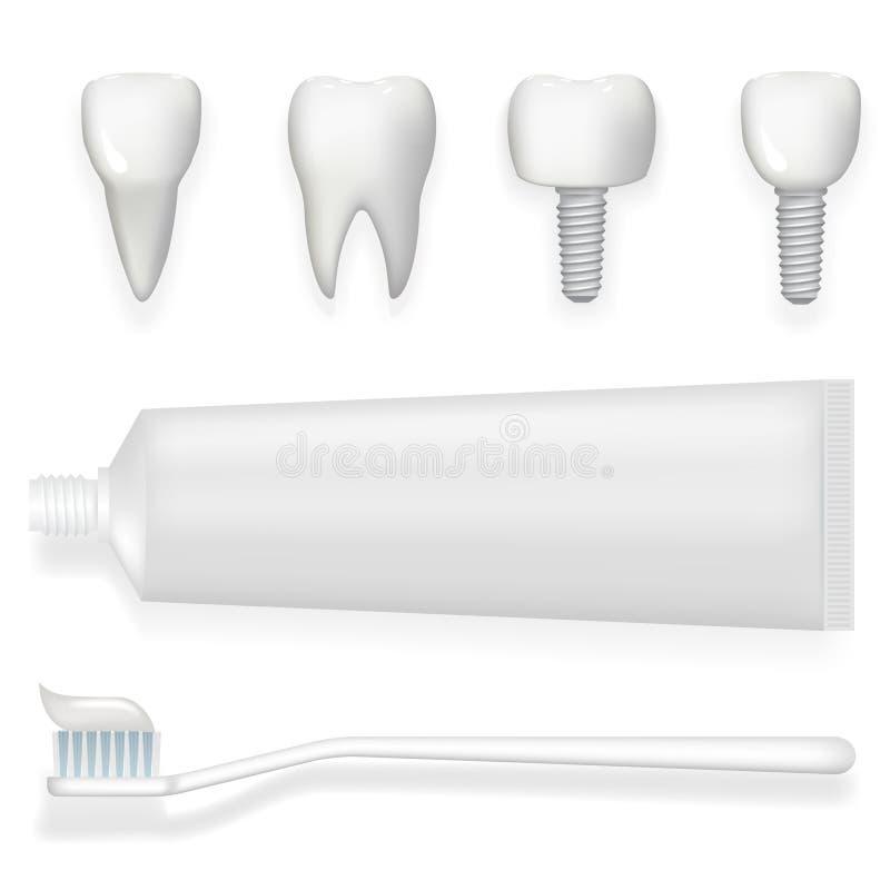 Le tube d'implant dentaire de dent des icônes réalistes de stomatologie de l'affiche 3d de pâte dentifrice et de brosse à dents a illustration stock