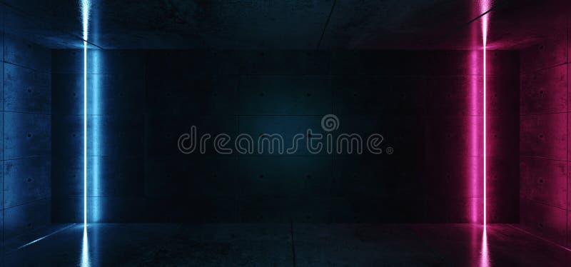 Le tube rougeoyant au néon de laser de verticale raye des couleurs pourpres roses bleues dans l'espace vide de pièce réfléchie co illustration libre de droits