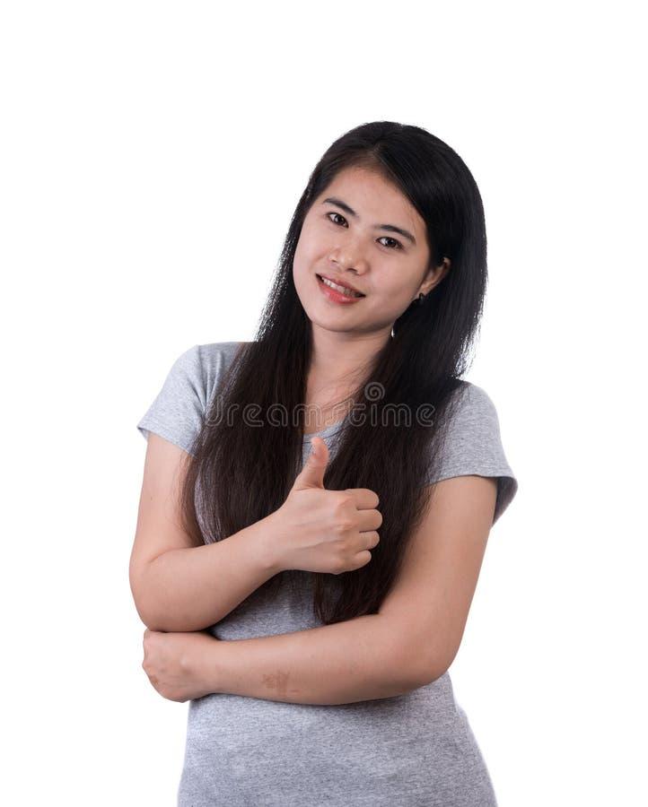 Le tummen för affärskvinna upp show som isoleras på vit bakgrund royaltyfria bilder