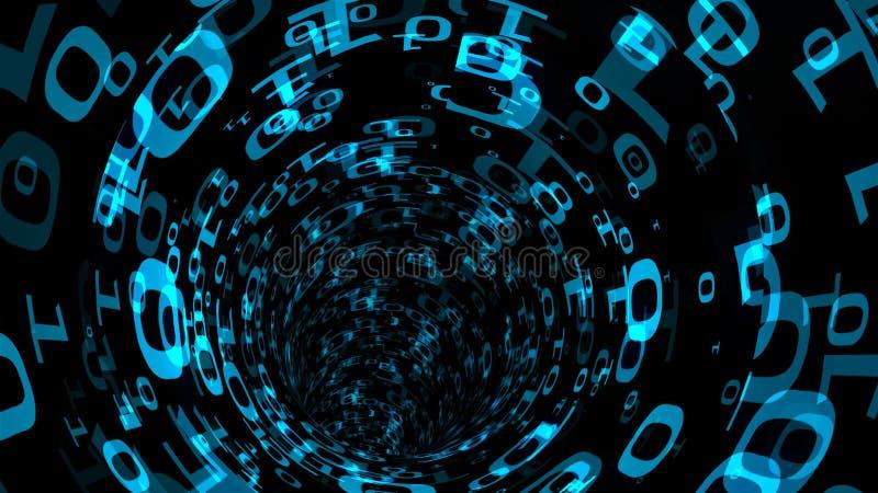 Le tunnel binaire de remous de résumé, immitation de voyage en univers d'ordinateur, le fond généré par ordinateur, 3D rendent illustration libre de droits