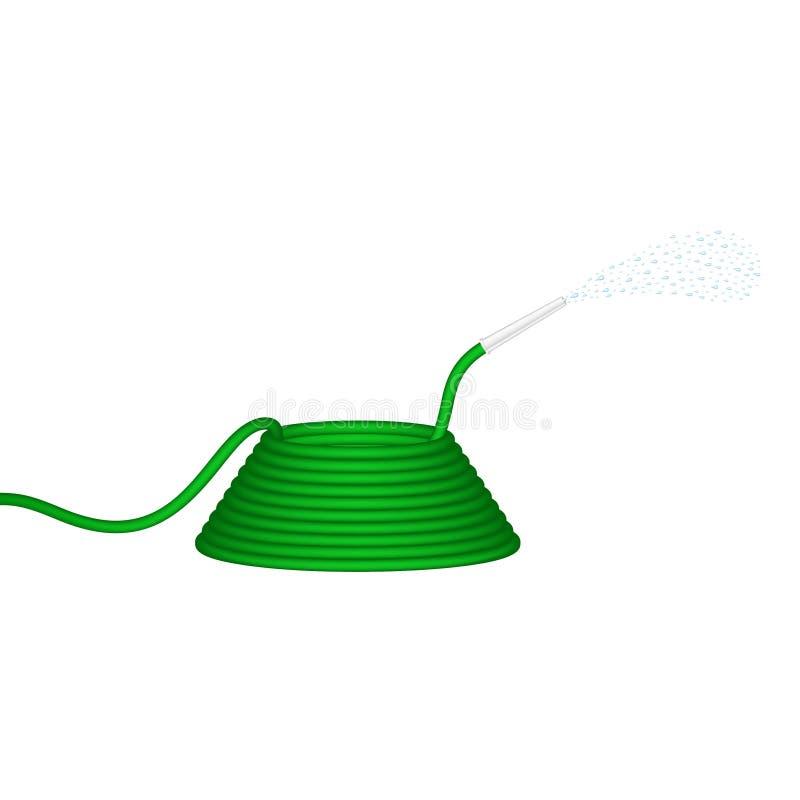 Le tuyau d'arrosage dans la conception verte injecte l'eau illustration stock