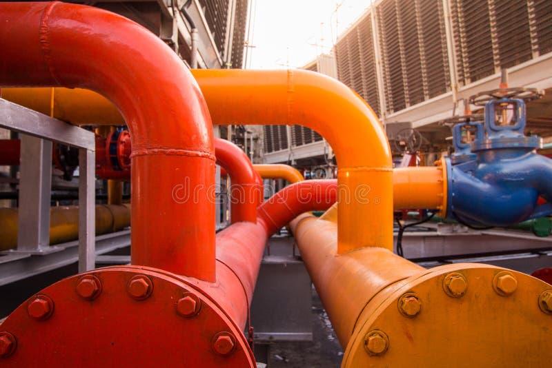 Le tuyau de retour de l'eau de condensateur et approvisionnement en eau de condensateur sifflent photographie stock libre de droits