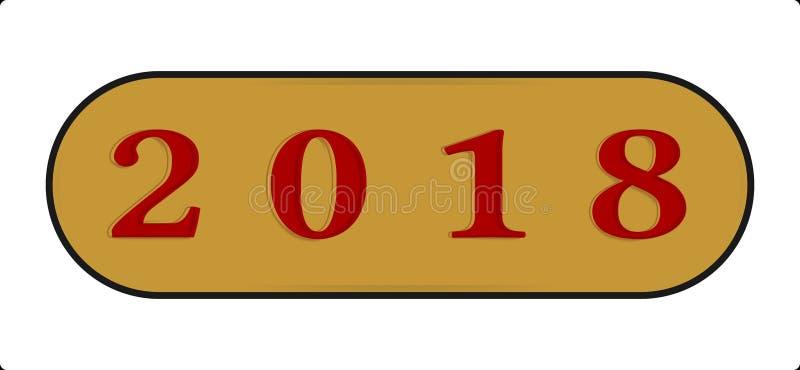 Le type abstrait illustration d'icône de bouton de la bonne année 2018 avec gravent en refief illustration libre de droits