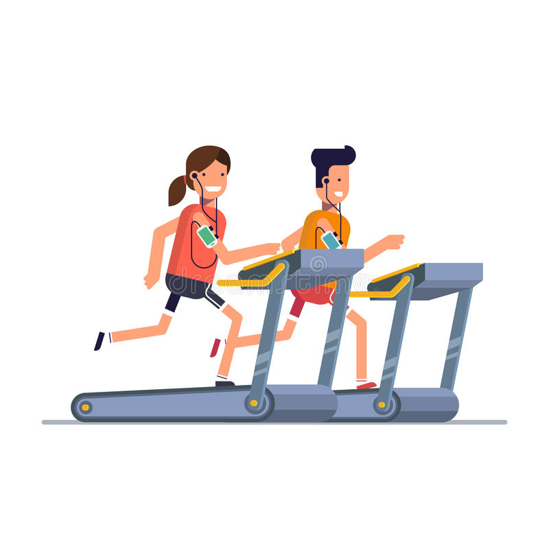 Le type avec la fille va chercher dedans des sports sur un tapis roulant tout en écoutant la musique par le téléphone illustration libre de droits