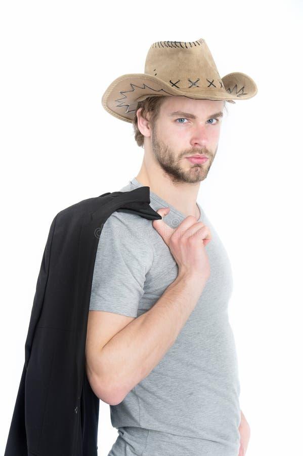 Le type barbu beau de cowboy, l'homme d'affaires ou la police sexy équipent photos stock