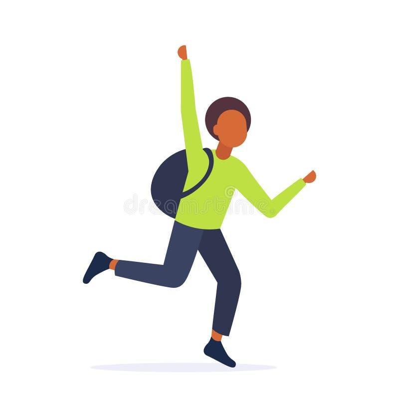 Le type d'adolescent d'afro-américain courant pour attraper le transport en commun dépêchent le geste de main de ondulation en illustration de vecteur