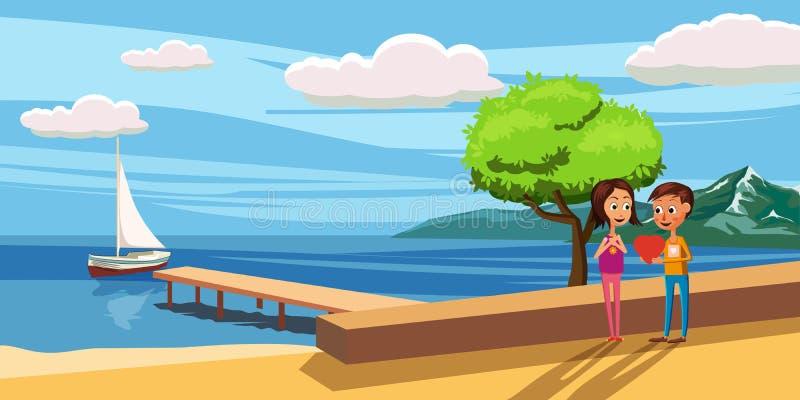 Le type donne à la fille un coeur, sur un fond d'un coucher du soleil de paysage de mer, des paumes, scooter, illustration illustration de vecteur