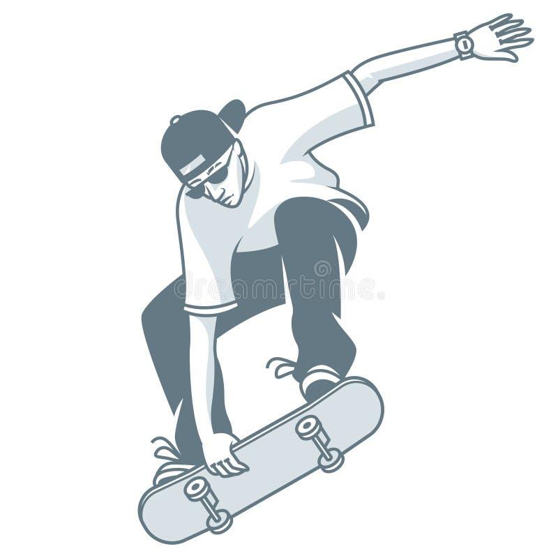 Le type fait le saut sur la planche à roulettes illustration stock