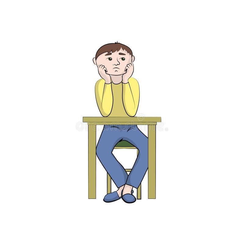 Le type, homme de garçon est triste Illustration de couleur de vecteur illustration de vecteur
