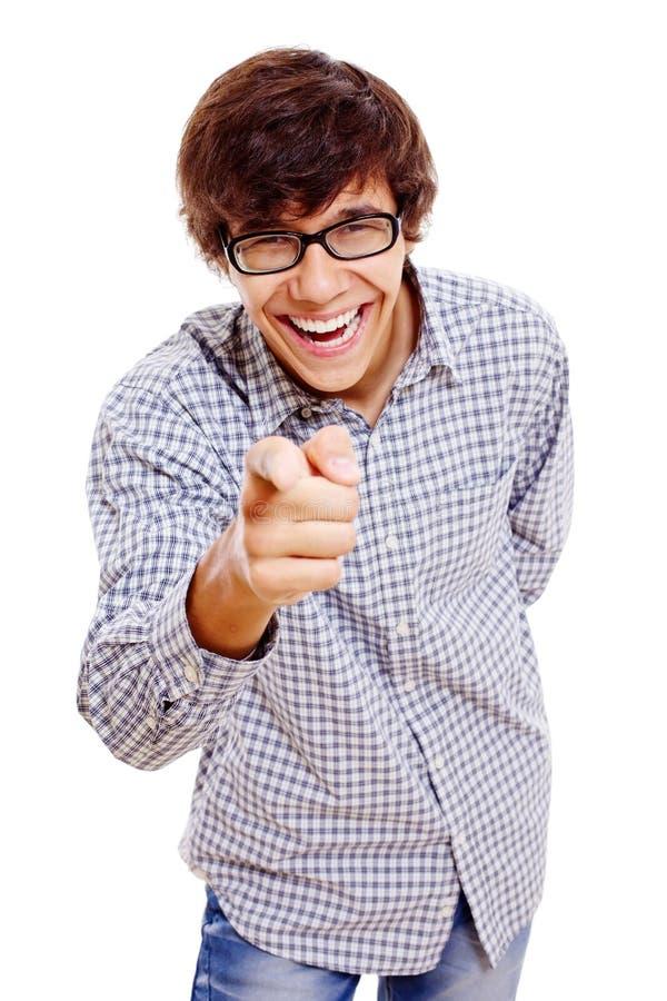 Le type hurle avec le rire images stock