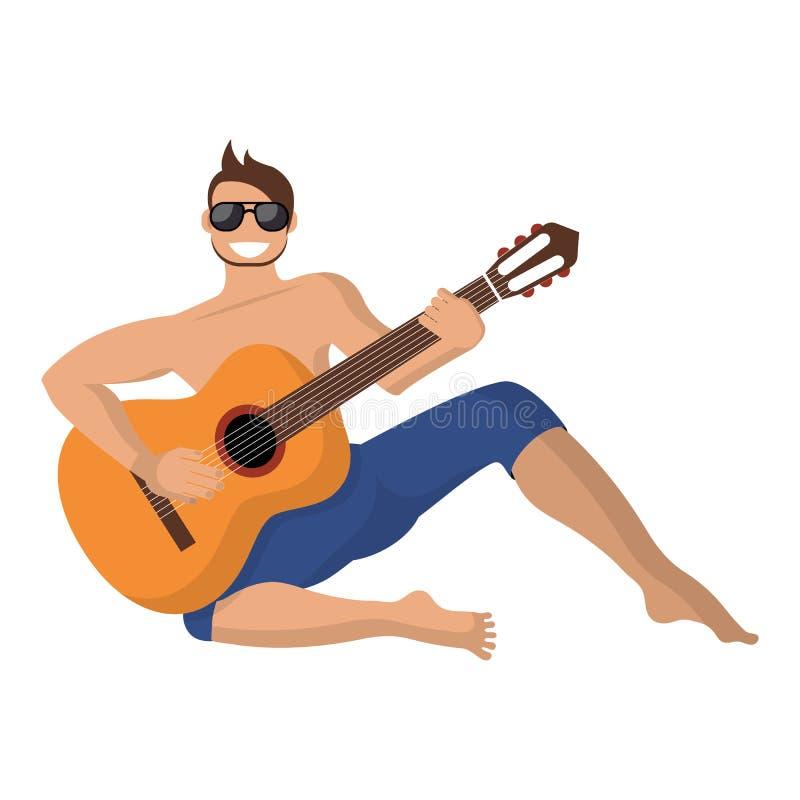 Le type joue la guitare dans la hausse illustration stock
