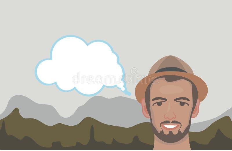 Le type sur le fond des montagnes illustration libre de droits