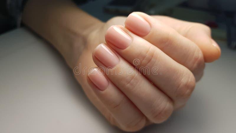 Le unghie nude gelificano la lucidatura fotografie stock libere da diritti