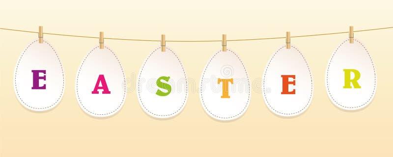 Le uova di Pasqua di carta appendono su un nastro con la molletta da bucato illustrazione di stock