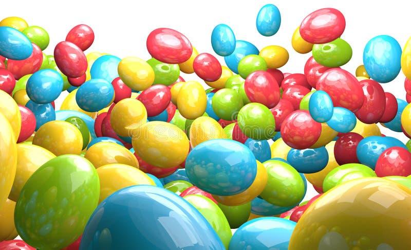 Le uova di Pasqua del mucchio dell'infinito 3d rendono illustrazione di stock